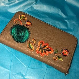 Boho floral army green faux leather wallet clutch